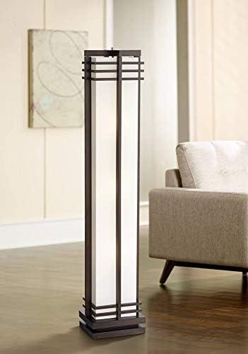 Art Deco Floor Lamp Espresso Wood Beige Linen Column Shade Standing Light for Living Room Bedroom product image