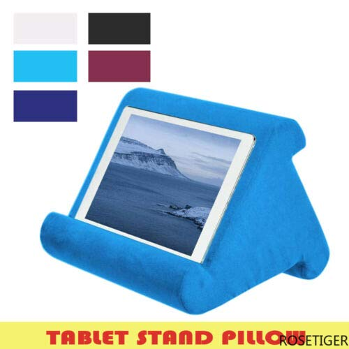Multi-Angle Soft Pillow Lap Stand for IPad Tablet EReaders Book Magazine Holder (Blue)