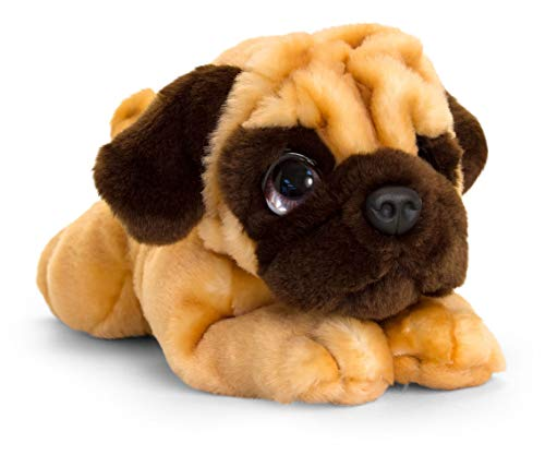Lashuma Keel Toys Plüschtier Hund Mops, Kuscheltier Hündchen liegend 32 cm