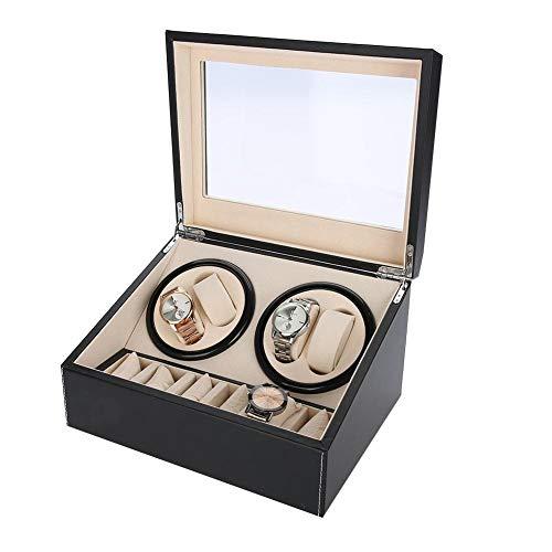 Caja De Almacenamiento De Reloj De 6 Rejillas, Caja De Enrollador De Reloj Relojes Automáticos Motor Silencioso Rotación Múltiple(01)