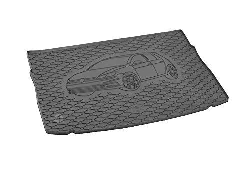 Passgenau Kofferraumwanne geeignet für VW Golf 7 ab 2012 ideal angepasst schwarz Kofferraummatte + Gurtschoner