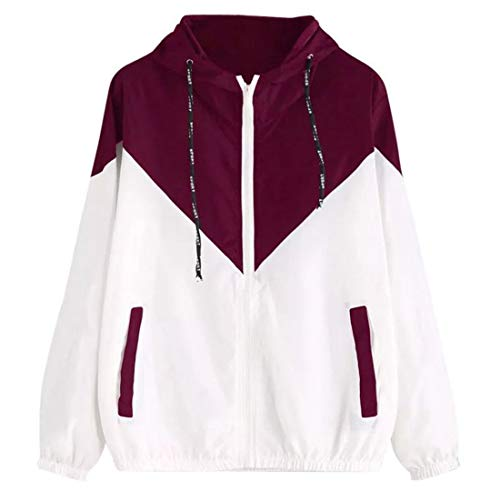 Sweatshirt Damen Casual Running Atmungsaktive Reißverschlusstasche Langarm Herbst Trend Classic All-Match Damen wasserdichte Jacke Damen Hoodie Red_ 4XL