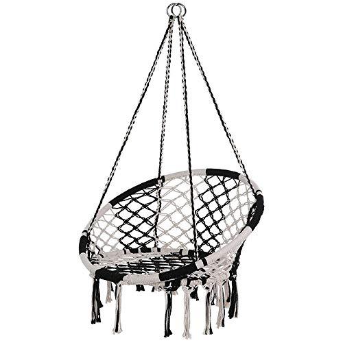VHGYU Silla colgante semicircular para colgar cuerda de malla de punto, columpio de algodón, con carga máxima de 350 libras para exteriores, para el hogar, jardín, silla colgante con cojín