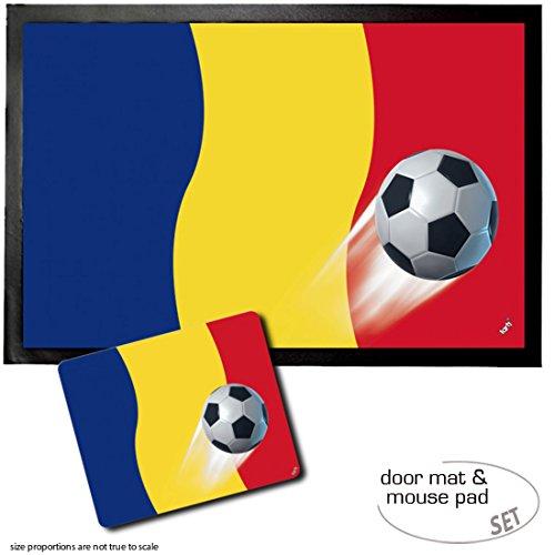 1art1 Fußball, Rumänien Länder-Flagge Fußmatte Innenbereich und Außenbereich | Design Türmatte (60x40 cm) + Mauspad (23x19 cm) Geschenkset