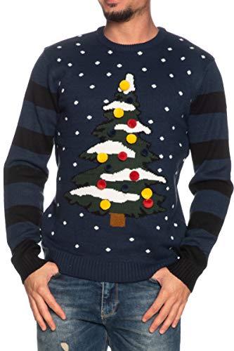 ONLY Herren ONSXMAS 7 Stripe Front JAQ Crew Knit Pullover, Dress Blues, XL