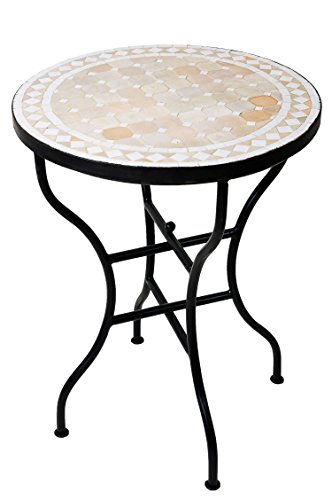 ORIGINAL Marokkanischer Mosaiktisch Bistrotisch ø 60cm Groß rund klappbar | Runder kleiner Mosaik Gartentisch Mediterran | als Klapptisch für Balkon oder Garten | Marrakesch Natur Weiß 60cm