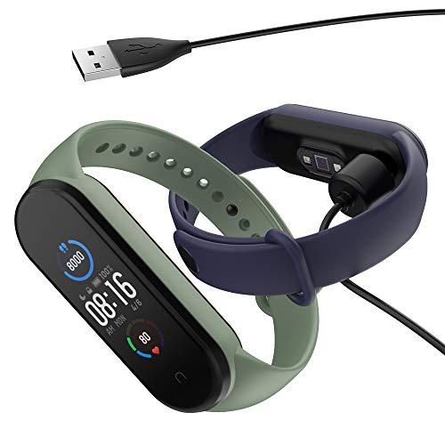 Hianjoo 2 Piezas Correa con 1 Cargador Compatible con Xiaomi Mi Band 5, Pulsera Banda de Deportes Suave Ajustable Silicona Reemplazo Bracelet Compatible con Xiaomi Mi Smart Band 5, Azul+Verde Menta