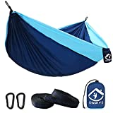 Camping Hammock Double with 2 Tree Straps Made of Portable Lightweight Nylon Parachute for Backpacking,Travel,Beach,Yard and Outdoor Survival (NavyBlue-Blue)