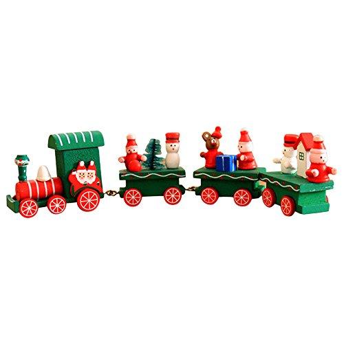 Pequeño tren de Navidad, Holacha Decoraciones de navidad Hecho de maderas para Niños Jardín de infancia Festivo (Verde)