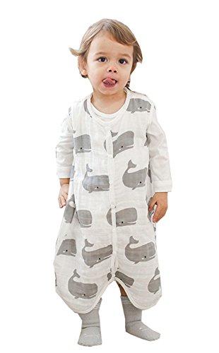 Chilsuessy Baby Sommer Schlafsack Kleine Kinder Ärmellos Schlafanzug 0.5 Tog Kind Strampler mit Füßen für Jungen und Mädchen, Wal, XL/Koerpergroesse 85-95cm