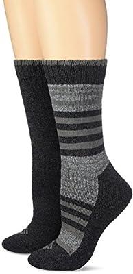 Columbia Women's Moisture Control 2 Pack Stripe, Charcoal, 9-11(Shoe Size 4-10)