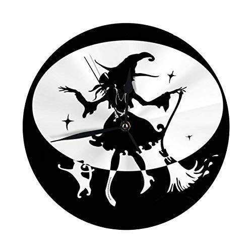 Oh Sweety Moderne Wanduhr große 9.8'Zoll tanzende Hexe mit Besen und Katze in Big Hat Silhouette Runde Kitch Clock