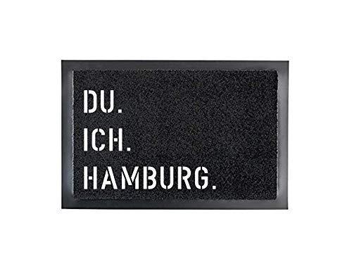 DU. ICH. HAMBURG. Fußmatte Türmatte Schmutzfangmatte 40 x 60 cm Türvorleger INNEN & AUSSEN rutschfest WASCHBAR Geschenk Weihnachten Geburtstag Einzug Umzug Hochzeit
