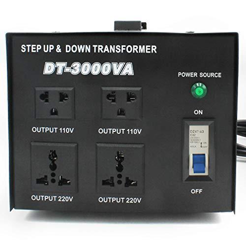 2021年中の大感謝セール LVYUAN(リョクエン)アップトランス ダウントランス 3000W 海外国内両用型変圧器 降圧・昇圧兼用型 変圧器 ポータブルトランス 【海外機器対応 変圧器】 DT-3000VA 100V/110V-220V/240V 自由変換