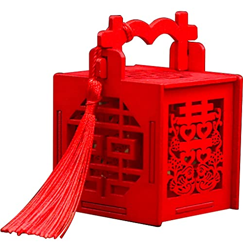 YUESFZ Candy Gift Box For Wedding, 10/50 Pcs Creative And Personalized Wooden Portable Gift Box, Chinese Chocolate Party Favor Box Birthday (Color : Red-B, Size : 8.2 * 7.4 * 13.8 cm)