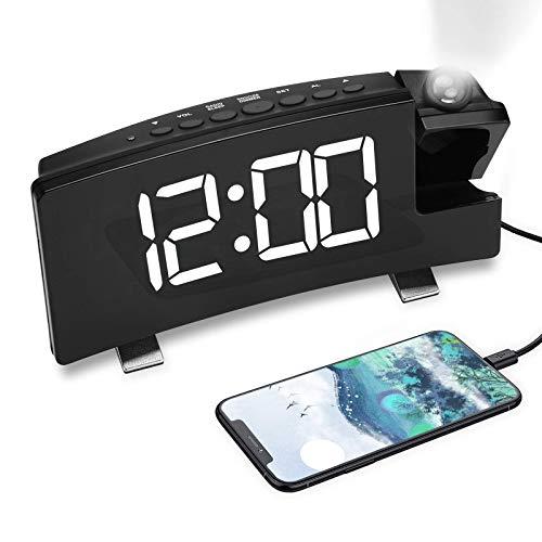Letra blanca de la alarma de proyección (Projection alarm clock white fuente)