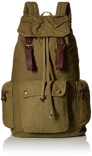 I-MART Canvas Leather Backpack Rucksack Satchel Bookbag Hiking Bag - Army Green