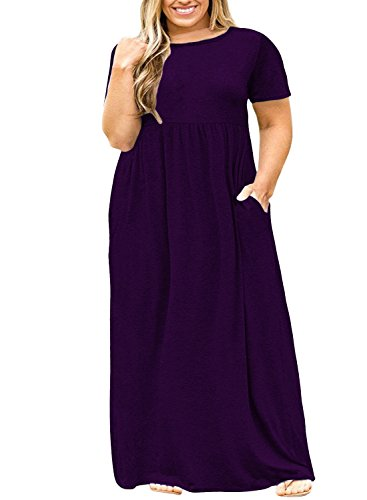 Nemidor Women Short Sleeve Loose Plain Casual Plus Size Long Maxi Dress with Pockets (Purple, 18W)