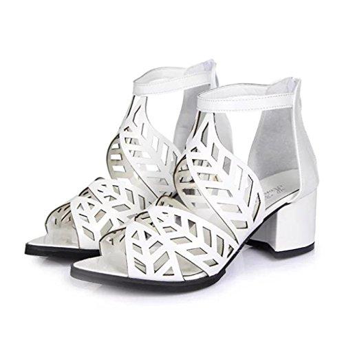 Liquidación! Covermason Vintage Summer Women Shoes Sandalias Plataforma Wedge High Heels Bohemian Shoes(39 EU, Blanco)