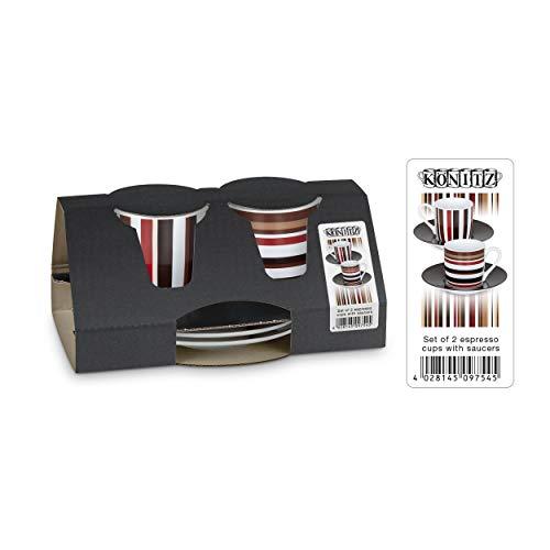 Könitz Coffee Code Espresso Geschenkset, 4-tlg., 2 Espresso Tassen mit Untertasse, Porzellan, 85 ml, 11 5 054 2350