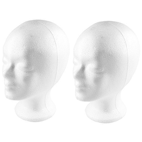 Styropor-Kopf, 21cm x 16cm x 25,7cm, 2 Stück | Perückenkopf, Dekokopf, Hutständer, Stryroporkopf, Modellkopf, Schaufensterdekoration