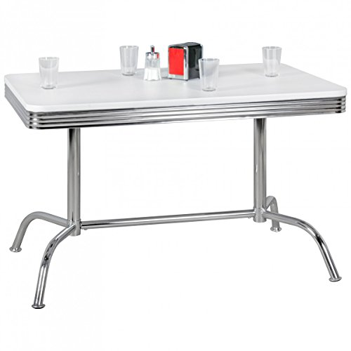 KadimaDesign Comedor Elvis 120cm American Diner MDF Madera & Aluminio Comedor Mesa Mesa de Cocina diseño Retro Estados Unidos Bistro Mesa