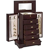 Best Choice Products Handcrafted Wooden Tabletop Jewelry Armoire (Brown)