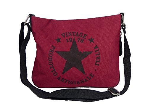 Coole Canvas Style Umhängetasche - Vintage Stern - Vernietung an der Seite - umlaufender Reißverschluß - Damen Mädchen Teenager Tasche (bordeaux)