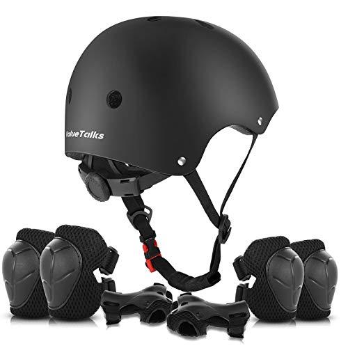 ValueTalks Protección Patinaje, Protección Infantil Consta de Casco Ajustable Rodilleras Coderas,Patinaje Ciclismo Monopatín y Deportes Extremos(Negro)