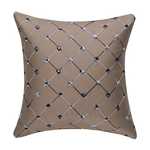 uxcell Decorative Throw Pillow Case Geometric Modern Square Pillow Shams Cushion Cover for Bedroom Sofa Car 18 x 18 Inch Pale Brown