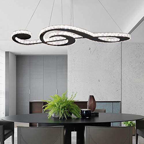 Regulable lámpara colgante de luz Cristal LED Comedor Altura ajustable araña Lámpara de plafón con control remoto Rectángulo moderno Arte Música Diseño para sala de estar Dormitorio Estudio Deco Ø80cm