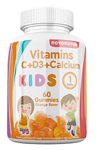 Novonatur Vitamine per bambini C + D + Calcio, in formato gommoso o gommoso, rinforza il sistema immunitario, aumenta le difese e aiuta la crescita, mastica al gusto di arancia