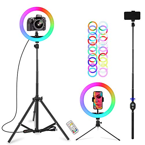 """10"""" Selfie Ring Light with Stand & Cell Phone Holder, Ciyeboa13 Colors RGB Led Ring Light for Makeup, YouTube, Video, Live, Photography (10 Brightness Level & Remote)"""