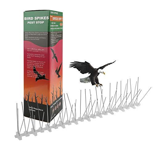 wolketon 3 Meter Taubenabwehr, Vogelabwehr Spikes 14x31cm, Effektiv - 5 Reihig, Mit Klickverschluss, UV-Beständig Rostfrei,vormontiert