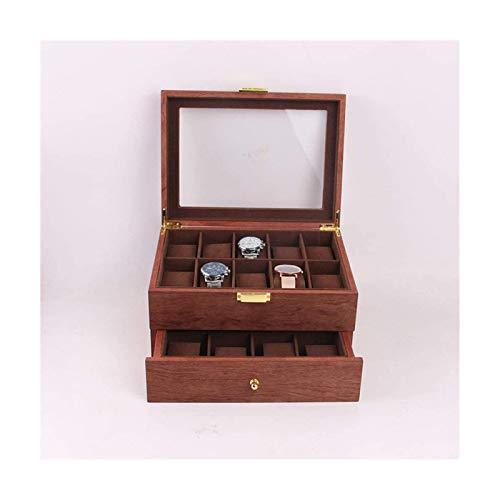 Caja de Reloj Caja de Reloj de Pera de Cártamo de Doble Capa Caja de Madera de Reloj de Alta Gama 20 Ranuras Caja de Presentación de Almacenamiento de Reloj de Gran Capacidad Para La Tienda en Casa