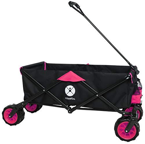 Miweba Faltbarer Bollerwagen MB-30 für Kinder - Softreifen - Ziehstange - Transporttasche - Klappbar - UV-Beständig - Handwagen faltbar (Pink)