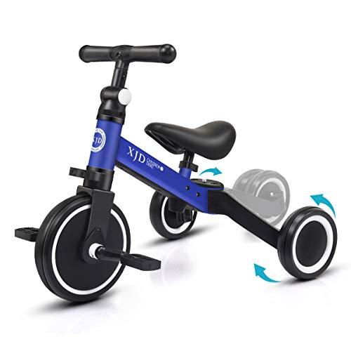 XJD 3 EN 1 Triciclo para Niños Bicicleta para bebé 1-3 años con Pedales Desmontables Asiento Elevador para Ajustar Alturas Regalo de cumpleaños(Azul)