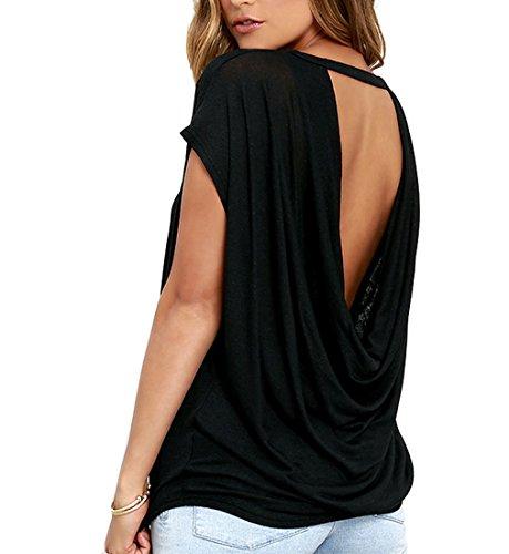 iMELY Damen Shirt Casual Blusen Rückenfrei O Neckline Loose Fit Fashion Top Tee T-Shirts (XL, Schwarz)