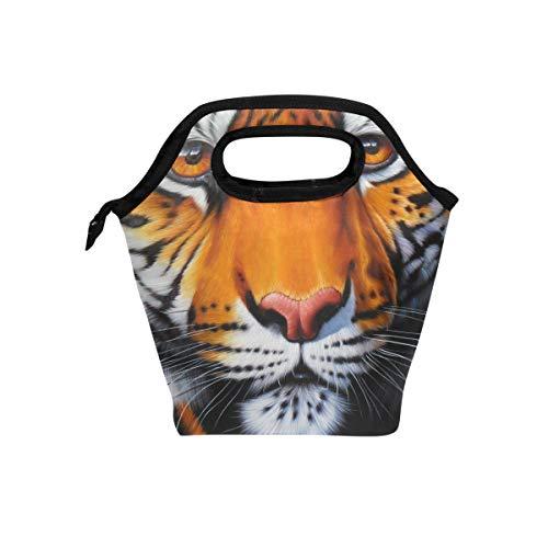 Eslifey Tête de Tigre Cooler chaud avec sacs à lunch Boîte à lunch pour l'école Portable repas Sacs à main à nourriture Sac pour pique-nique