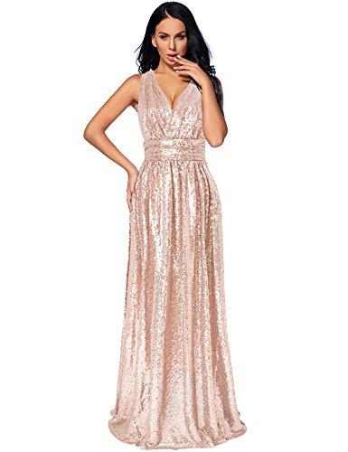 Neemee Women S Sequin Bridesmaid Dress Prom Banquet Evening Formal Dresses Rosegold 12 Wantitall