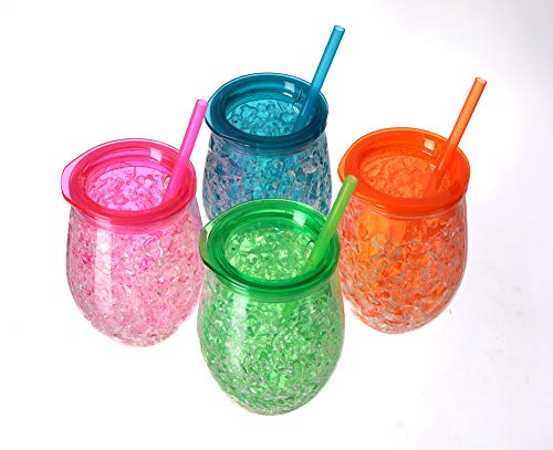 Easicozi Double Wall Gel Frosty Freezer Ice Mugs Clear 11.8oz Set of 4 (Red, green, blue and orange)