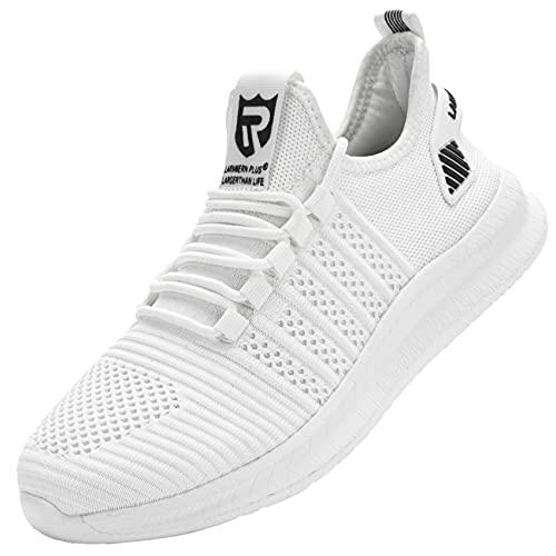 LARNMERN Zapatillas de Deporte Hombres Transpirables Running Zapatos para Correr y Asfalto Aire Libre y Deportes Calzado Gimnasio Sneakers(Blanco Negro 44)
