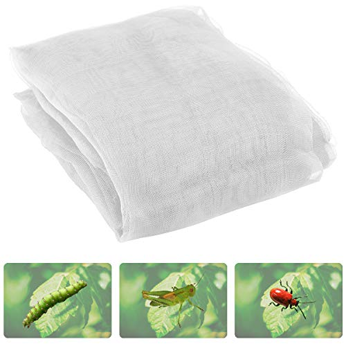 Anphisn 2 Pack Garden Insect Screen Insect Barrier Netting Mesh Bird Netting 9.8ft × 6.5 ft (White)