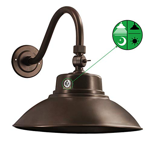 Brown LED Gooseneck Barn Light 14 Inch Dusk to Dawn Sensor Classic 42W...