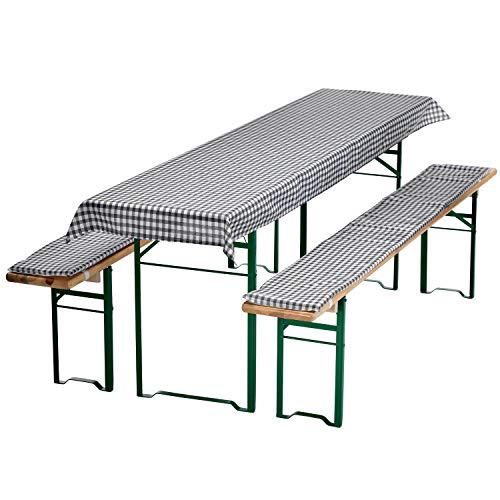 DILUMA Auflagen-Set für Bierzeltgarnitur Kariert 3-teilig Tischdecke 240 x 70 cm für 50 cm breite Biertische und 2 gepolsterte Bankauflagen 220 x 25 cm, Farbe:Grau