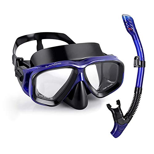 OMGear Snorkel Set Snorkeling Gear Package Diving Set Premium Silicone Dive Goggles Snorkel Goggles Neoprene Strap Scuba Diving Freediving Spearfishing Swimming Blue