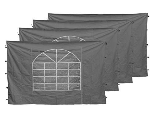 QUICK STAR 4 Seitenteile mit PVC Fenster 300x193cm für Pavillon Sahara 3x3m Seitenwand Grau