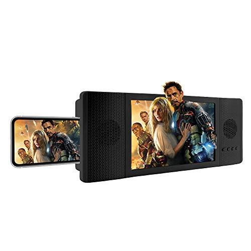 Newseego Phone Screen Magnifier, Película Lupa de la Pantalla con Altavoz de Audio, Ampliador de Pantalla de teléfono 3D de Escritorio retráctil para Todos los teléfonos Inteligentes - Negro