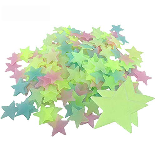 Bontand 200 Piezas De Plástico De Pared Pegatinas Luminosas De Las Estrellas Brillan En La Oscuridad Fluorescentes Noctilucentes Calcomanías para Inicio De Techo Kids Pared Dormitorio del Bebé