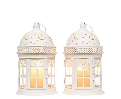 TYXL Vintage Candle Lanterns 21cm High Decorative Hanging Lantern Metal Candle Holder Round Balcony Accessory Candle Holders (White, 2 Pcs)